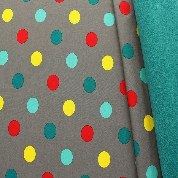 Softshell Fleece Stoff Big Dots Grau-Petrol