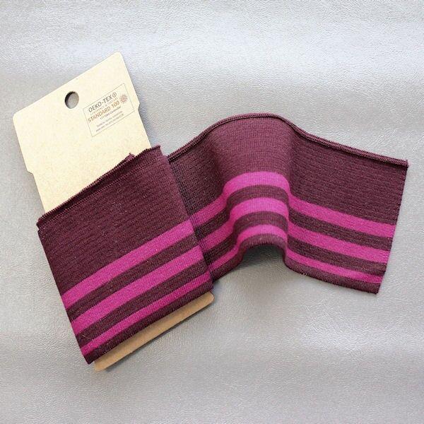 Board Cuff Bündchen College Streifen Weinrot-Pink