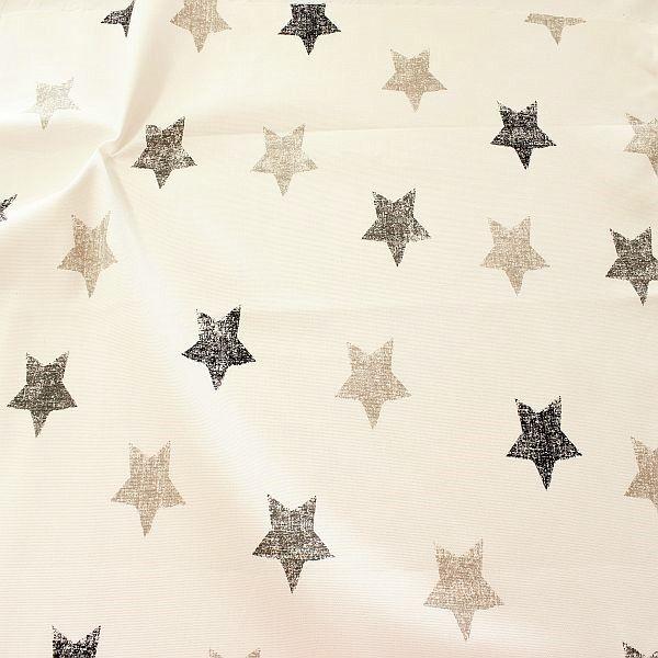 Dekostoff Halbpanama Vintage Stars Schwarz-Grau-Beige