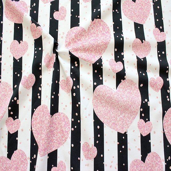 Baumwoll Stretch Jersey Streifen & Herz Konfetti Weiss-Schwarz-Rosa