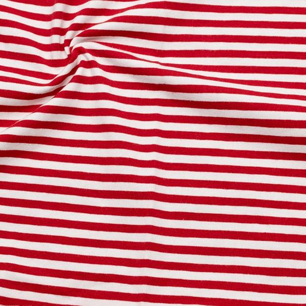 Baumwoll Stretch Jersey Ringel Rot Weiss