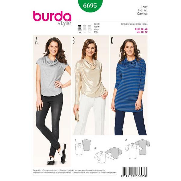 Shirt – Wasserfallausschnitt – überschnittene Schultern, Gr. 36 - 48, Schnittmuster Burda 6695