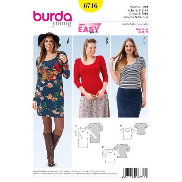 Shirt – Shirtkleid – runder Ausschnitt, Gr. 42 - 52, Schnittmuster Burda 6716