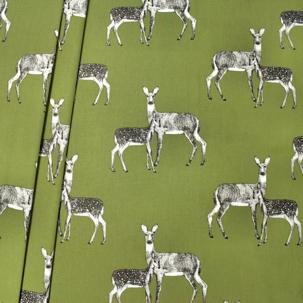 "Design Dekostoff Halbpanama ""Deer"" Farbe Oliv-Grün"