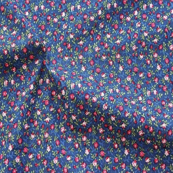 Baumwollstoff Petite Roses Dunkel-Blau