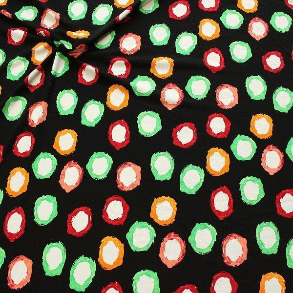 Viskose Stretch Jersey Painted Circles Schwarz