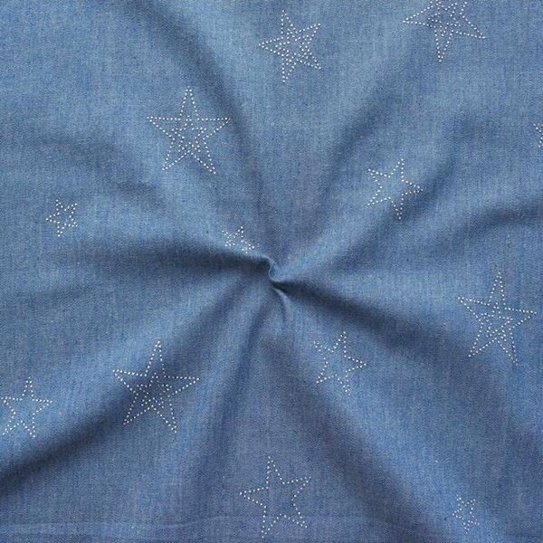 Baumwollstoff Chambray Sterne Mix Jeans-Blau