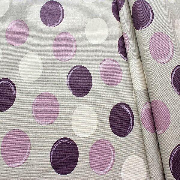 Baumwollstoff beschichtet Punkte Grau-Violett