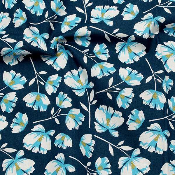 Baumwolle Popeline Blumenpracht Dunkel-Blau