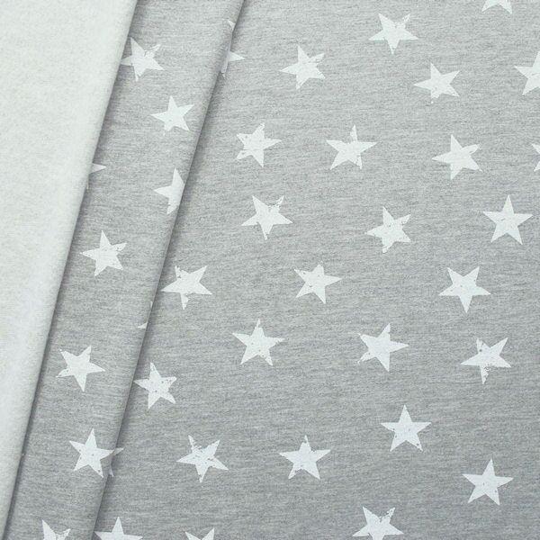 Sweatshirtstoff Sterne Used Look Grau meliert