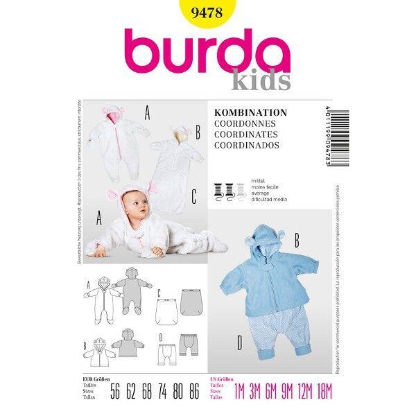 Burda 9478 Schnittmuster für Baby-Kombination bestehend aus Overall, Fußsack, Jacke und Hose