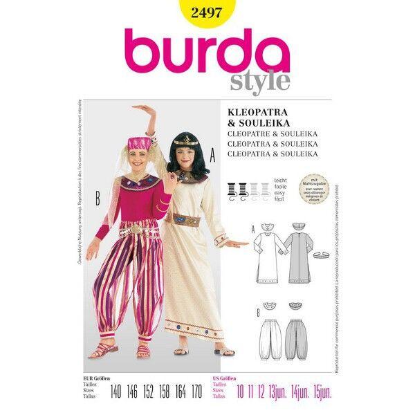 Burda 2497 Schnittmuster Mädchenkostüm Cleopatra und orientalische Prinzessin