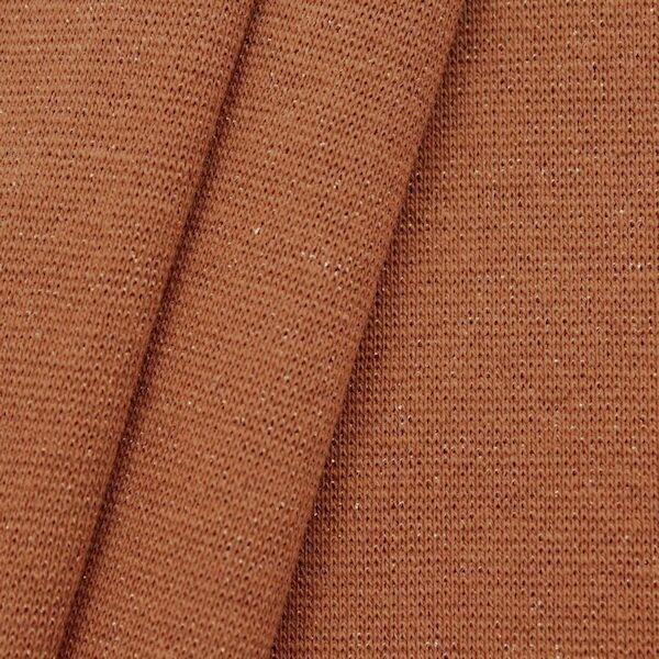 Baumwoll Bündchenstoff glatt Lurex Glitzer Terrakotta Bronze