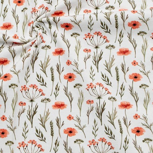 Baumwoll Stretch Jersey Mohnblumen Weiss