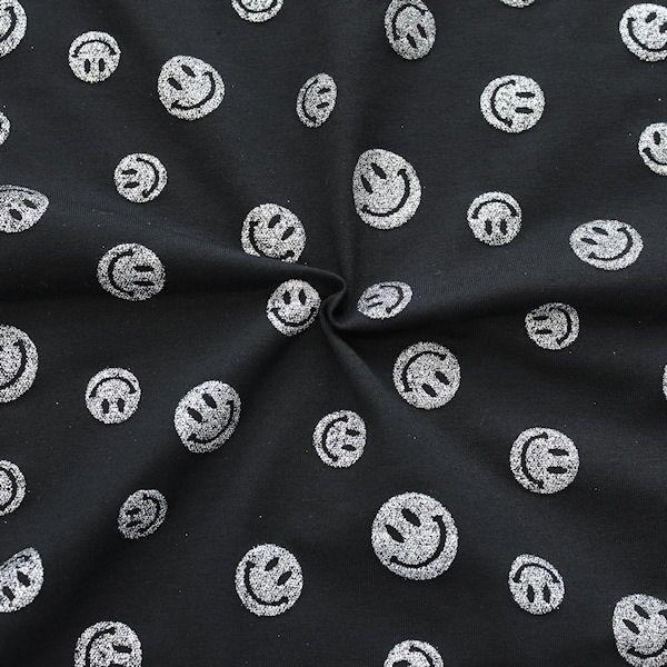 Baumwoll Stretch Jersey Glitter Smileys Schwarz