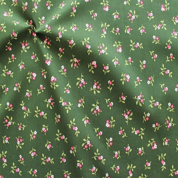 Baumwollstoff Trachten Blütenzweig Grün