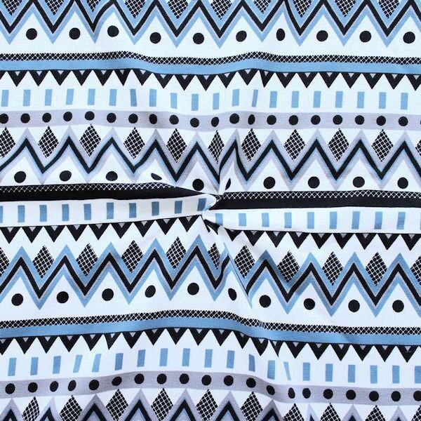 Baumwoll Stretch Jersey Zick Zack Mix Weiss Blau