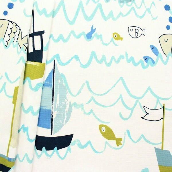 "Design Dekostoff Halbpanama ""Waves"" Farbe Creme-Weiss Blau"