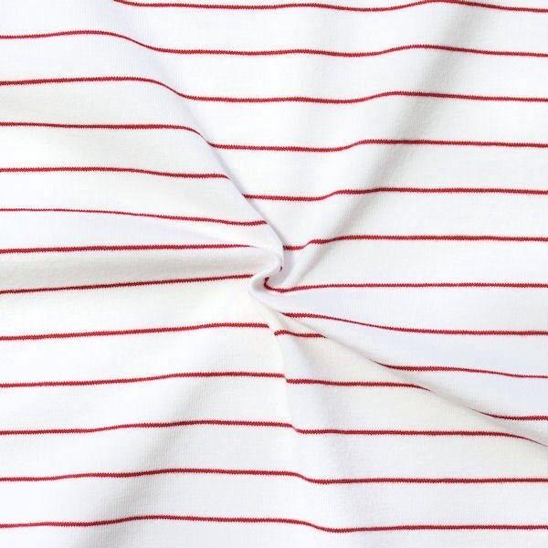 Baumwoll Stretch Jersey Ringel maritim Weiss Rot