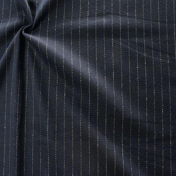 Wollmix Stoff Nadelstreifen Dunkel-Blau