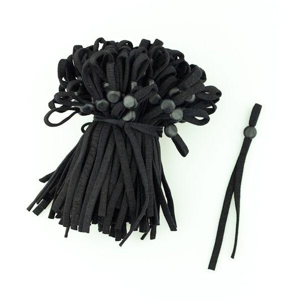 2 Stück Elastikband mit Stopper Flach 5mm breit Farbe Schwarz