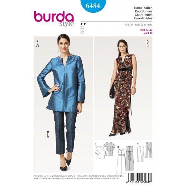 Tunika – Kleid – Abendkleid – Hose ohne Bund, Gr. 34 - 44, Schnittmuster Burda 6484
