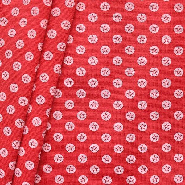 """Baumwoll Bündchenstoff """"Stern im Kreis glatt"""" Farbe Rot-Weiss"""