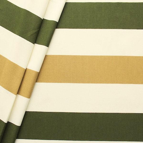 """100% Baumwoll Canvas Breite 280cm """"Blockstreifen"""" Farbe Creme-Oliv"""