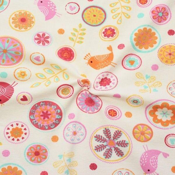 """Sweatshirt Baumwollstoff French Terry """"Blumen Vogel Mix"""" Farbe Creme-Weiss Rosa"""
