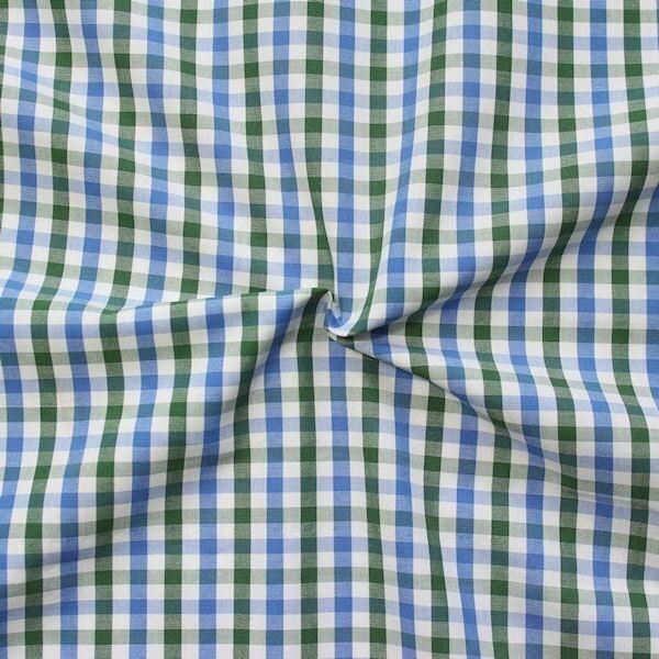 Baumwollstoff Hemden Qualität Fashion Karo Blau-Grün-Weiss