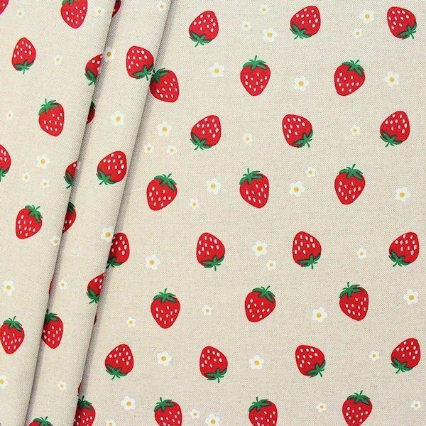 """Dekostoff """"Erdbeeren & Blüten"""" Farbe Natur"""