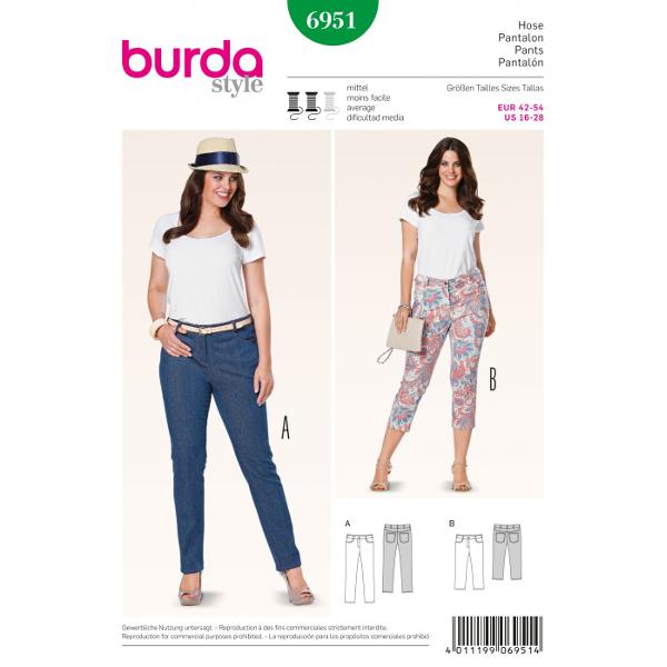 3/4 Hose, Jeans, Gr. 42 - 54, Schnittmuster Burda 6951