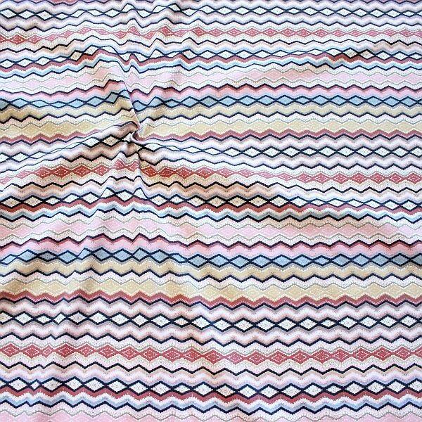 Baumwoll Stretch Jersey Ethno Zick-Zack Linien Rosa