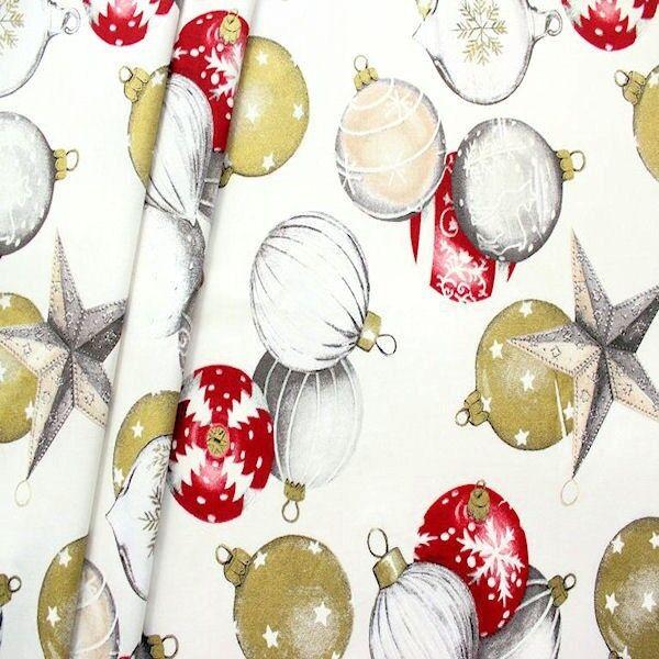 Dekostoff Weihnachtskugeln XL Weiss