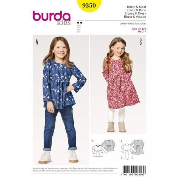 Bluse – Kleid – hohe Taille , Gr. 92 - 122, Schnittmuster Burda 9350