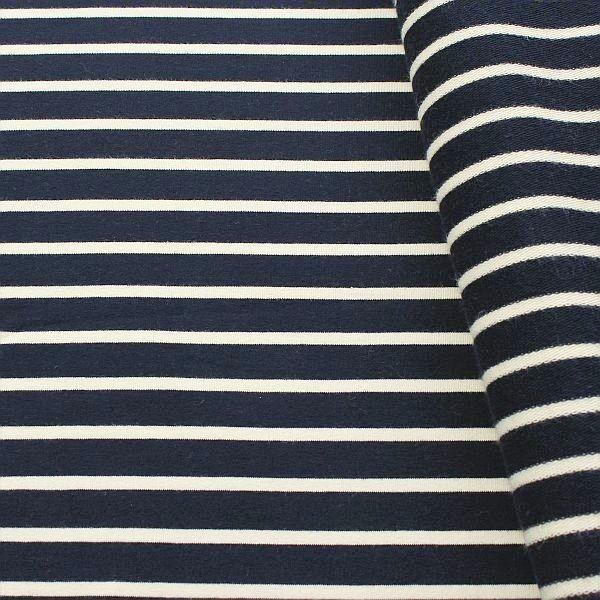 Baumwoll Sweatshirt French Terry Querstreifen Duo Navy-Blau Ecru