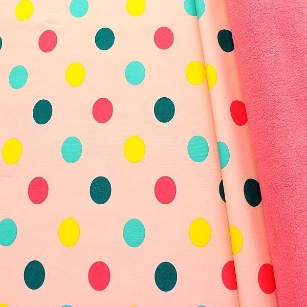 Softshell Fleece Stoff Big Dots Hell-Rosa Rosa
