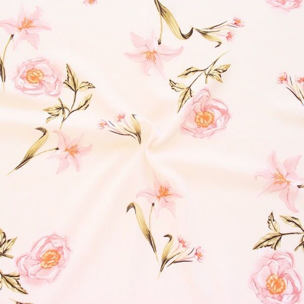 "Crêpe Chiffon ""Lilien & Rosen"" Farbe Pastell-Rosé"