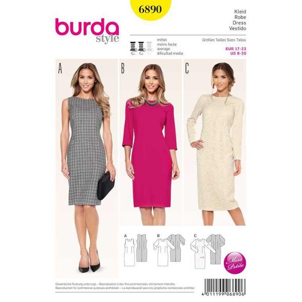 Kleid – Shiftkleid, Gr. 17 - 23, Schnittmuster Burda 6890