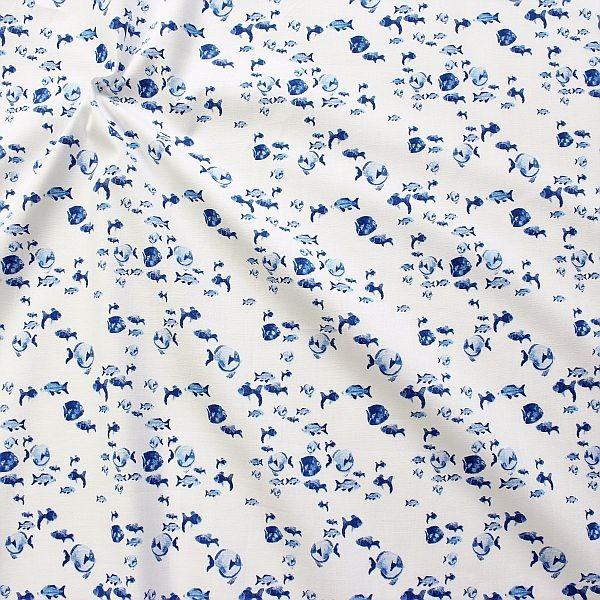 Baumwollstoff Blaue Fische Weiss