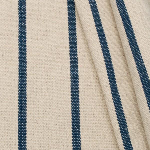 100% Baumwolle Panama schwere Qualität Streifen Natur-Blau