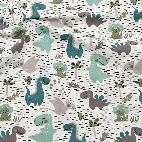Baumwoll Stretch Jersey Kleine Dinosaurier Weiss