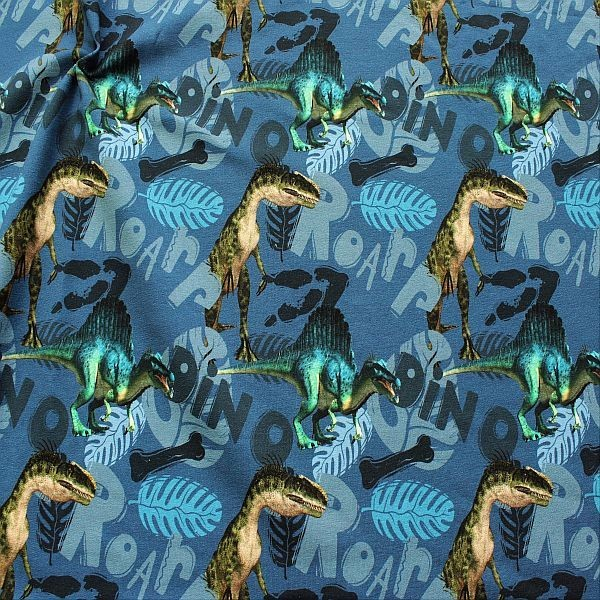 Sweatshirt Baumwollstoff French Terry Dino World Blau