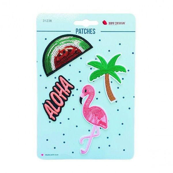 "Patches / Bügelbilder 4er Set ""Aloha Flamingo"" Bipp Design 31238"