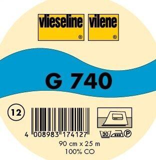 Vlieseline mittelschwere, leicht geraute Gewebeeinlage aufbügelbar Typ G 740 Farbe Ecru