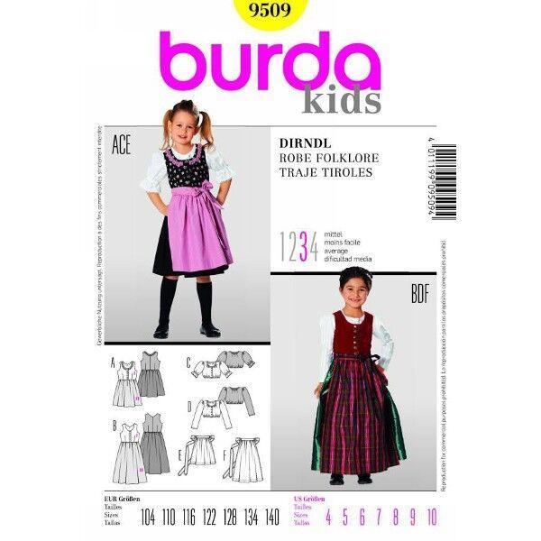 Mädchen - Dirndl, Gr. 104 - 140, Schnittmuster Burda 9509 | Kinder ...