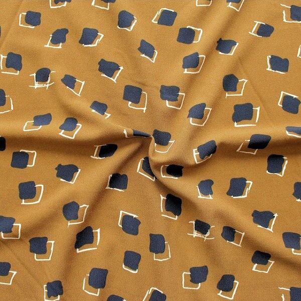Crêpe Modestoff Fashion Quader Senf-Gelb