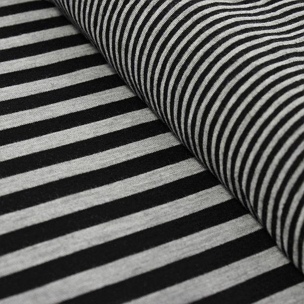 Feinstrick Jersey Doubleface Doppelstreifen Schwarz-Grau