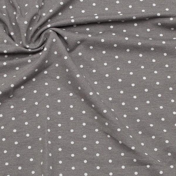 Viskose Stretch Jersey Tupfen klein Grau