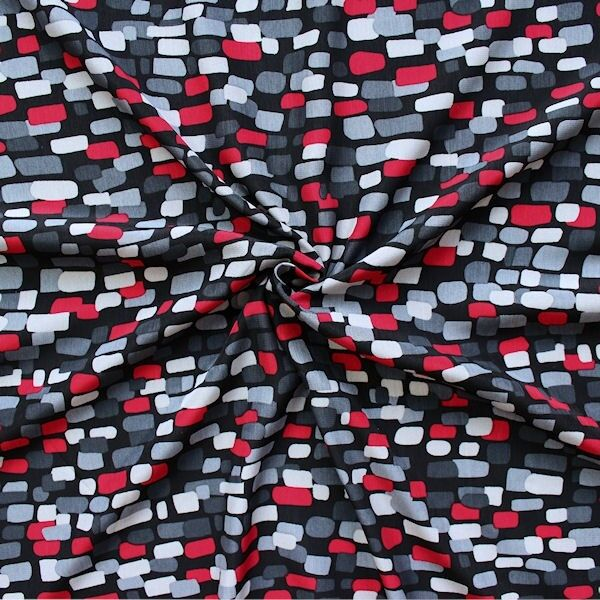 "Modestoff ""Cobbles"" Farbe Schwarz-Rot-Grau"
